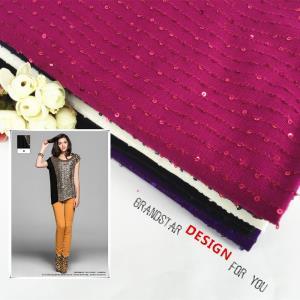 厂家直销2017年日韩多色条纹田园亮片汗布夏针织珠片绣面料