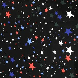 彩色五角星雪纺印花面料
