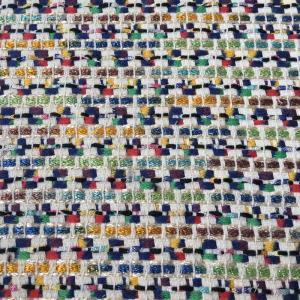 小香风粗纺彩色亮丝编织呢