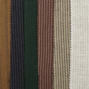 联进竖条麻棉色织条子面料细窄条贴肤文艺随性衬衣家饰布料现货供应