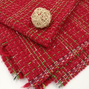 长盛羊毛小香风红绿格子粗纺编织呢