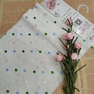 [可免费领取]02064 面料双向彩色多色波点圆椭圆形精梭棉布人造丝