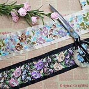 【可免费领取】02063 色织花边彩色刺绣民族风情任性定制缎带刺绣