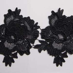 刺绣条码黑色绣品牛奶丝柔软花绣花图案花边
