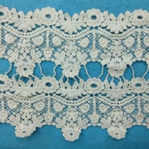 棉线水溶花边条码刺绣白色绣品