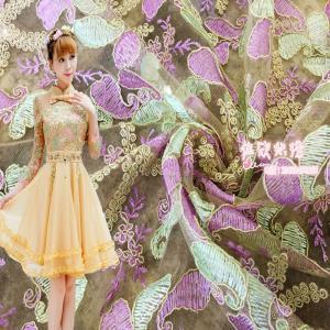时尚绣花厂家直销刺绣蕾丝欧根纱连衣裙2016秋季女装复古裙子面料